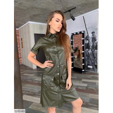 Платье-рубашка экокожа